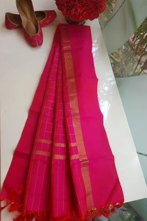 Bright Pink checks kanchi silk dupatta
