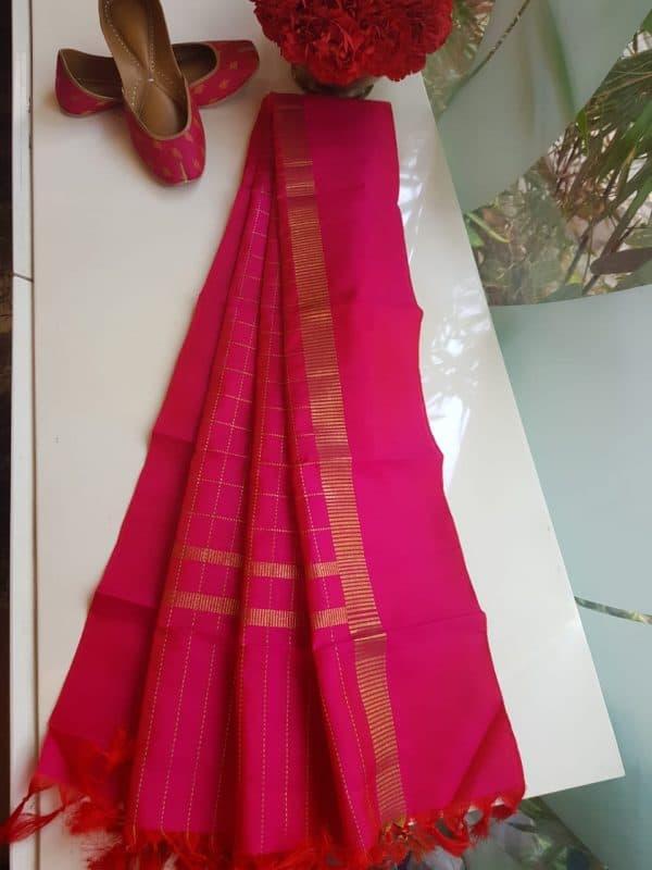 Bright Pink checks kanchi silk dupatta