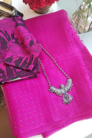 Pink woven organza saree