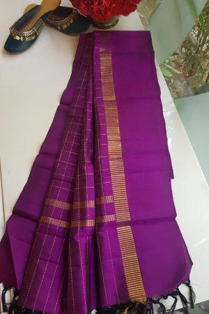 Purple checks kanchi silk dupatta