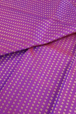 Purple flower kanchi silk fabric