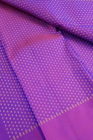 Purple zari kanchi silk fabric