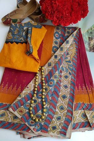 Red ikat cotton kalamkari saree