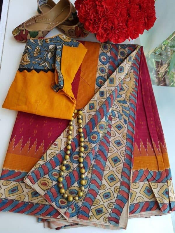 Red ikat cotton kalamkari saree