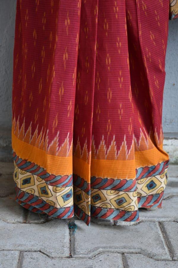 Red ikat cotton kalamkari saree b