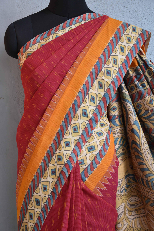 Red ikat cotton kalamkari saree c