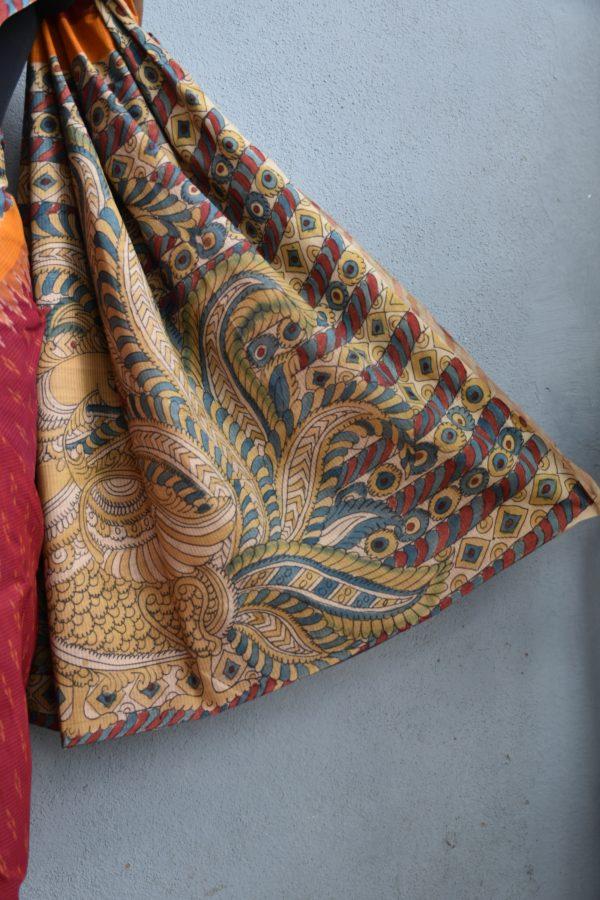 Red ikat cotton kalamkari saree d