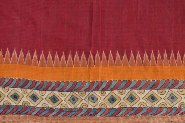 Red ikat cotton kalamkari saree e