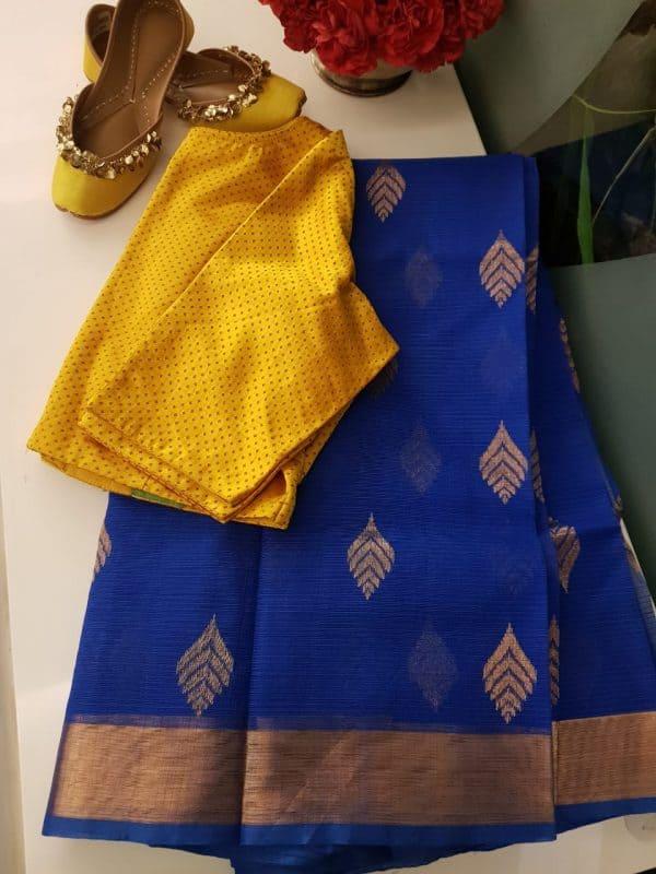 Royal blue real zari kota saree