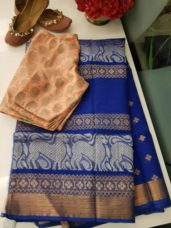 Royal blue real zari kota saree with silver zari