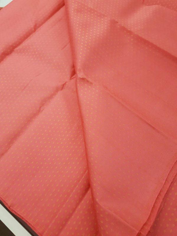 Sorbet pink kuyil kann kanchi silk zari fabric