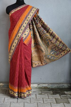 Red ikat cotton kalamkari saree e
