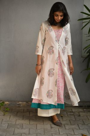 White floral layered tunic 2