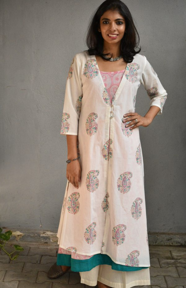 White floral layered tunic