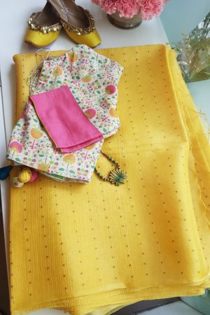 Yellow organza sequins saree