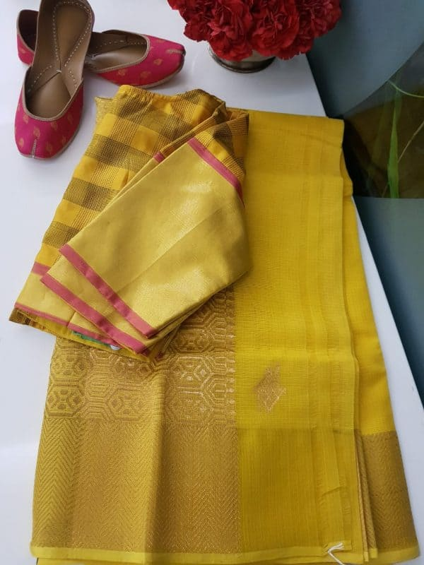 Yellow real zari kota saree