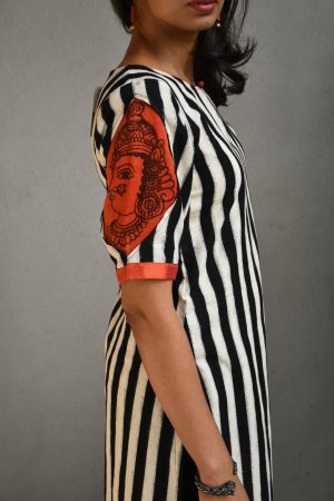 black and white ikat kurta sleeve