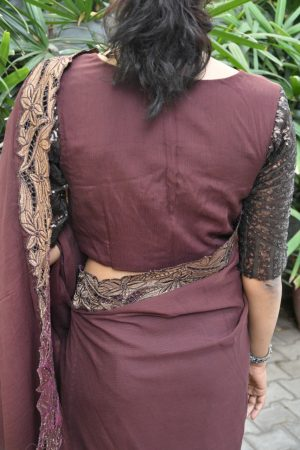 brown chiffon blouse back