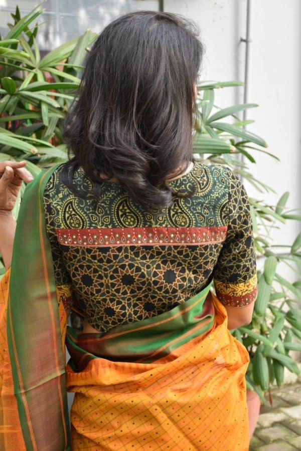 green ajrkah cotton blouse back