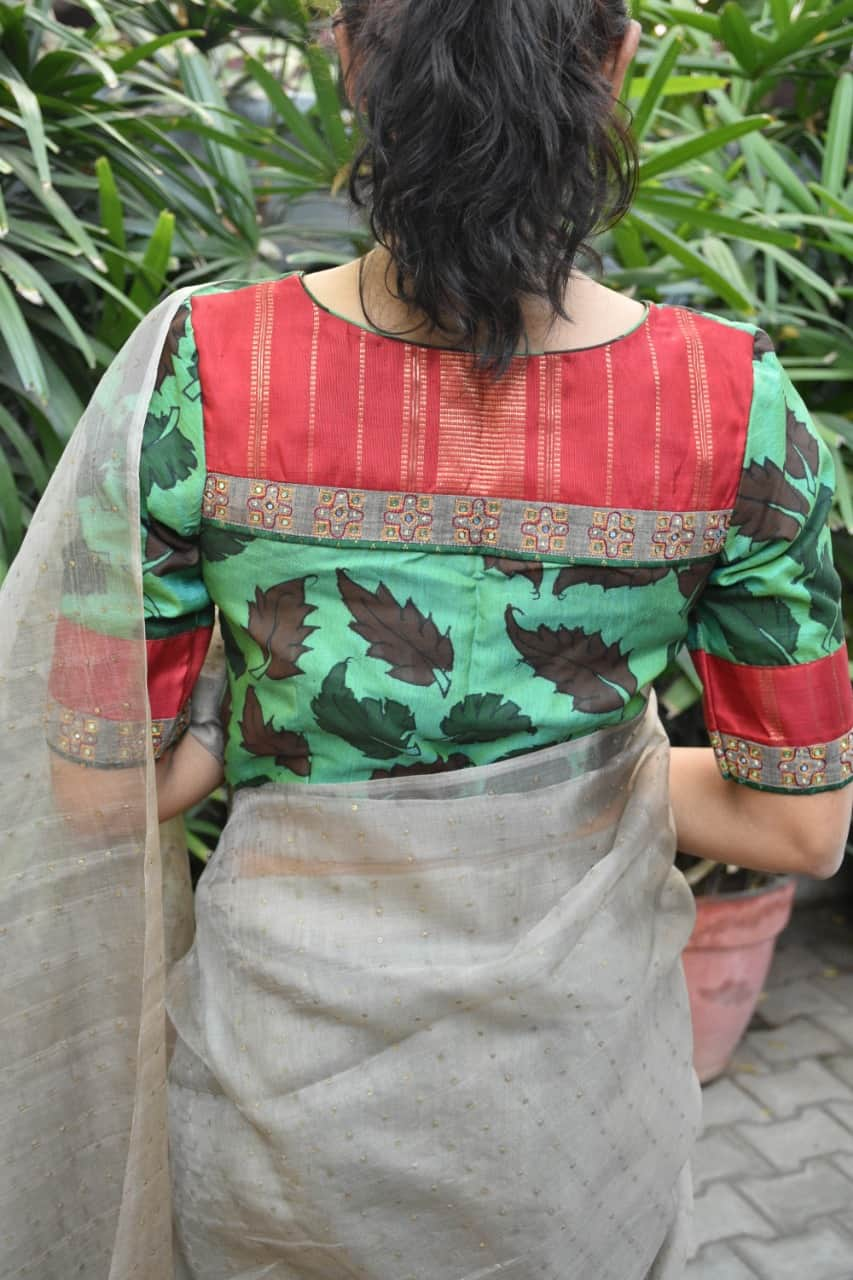 green kalamkari blouse back