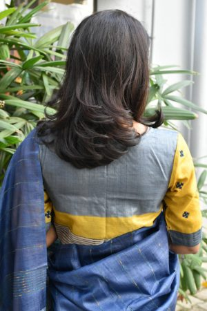 grey tussar kutch work blouse