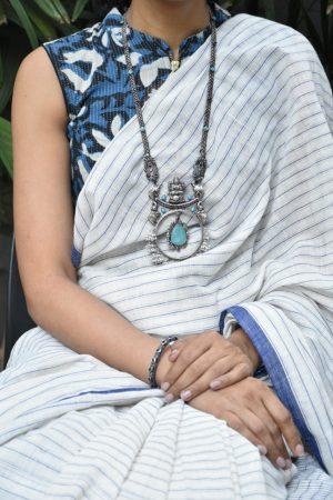 indigo blue crop blouse