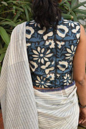 indigo blue crop blouse back
