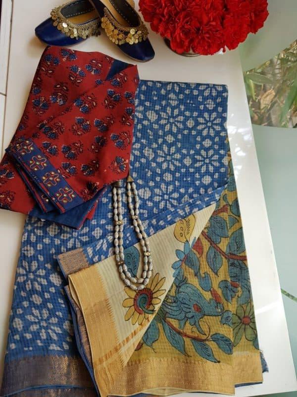 indigo floral print mangalgiri kalamkari saree