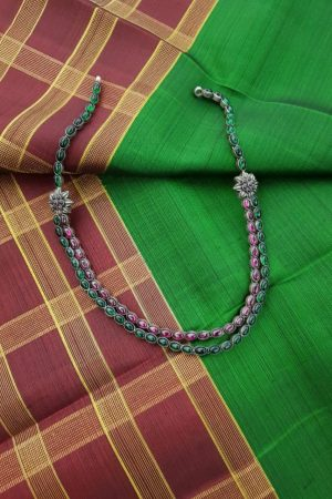 layered pink green stone silver necklace