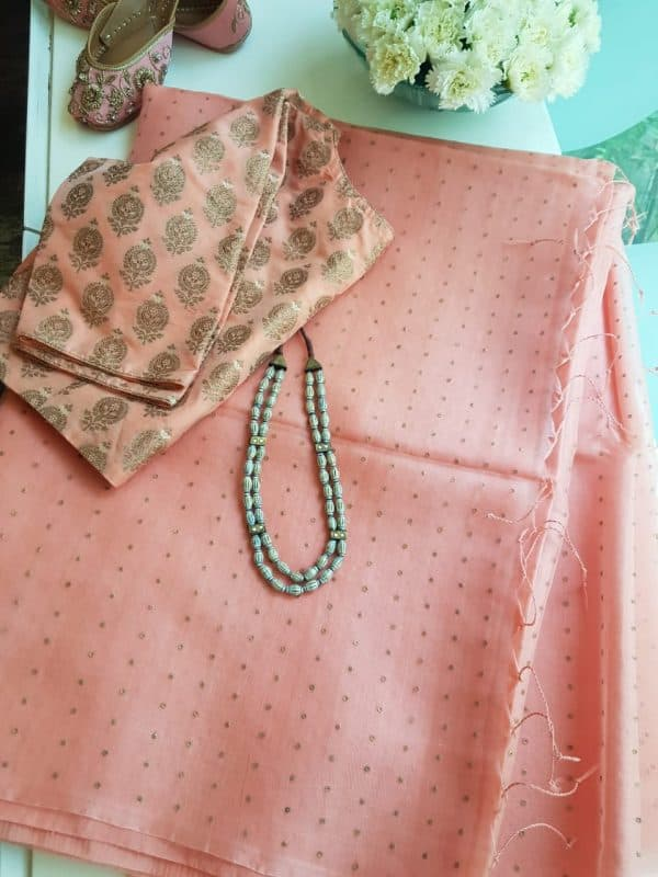 light peach woven organza saree
