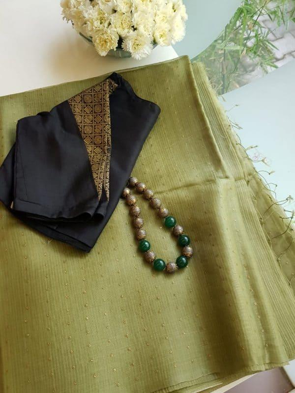 mehandi green woven organza saree