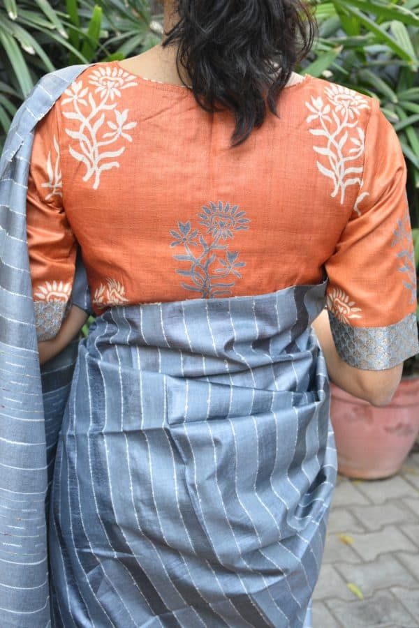 orange tussar blouse back