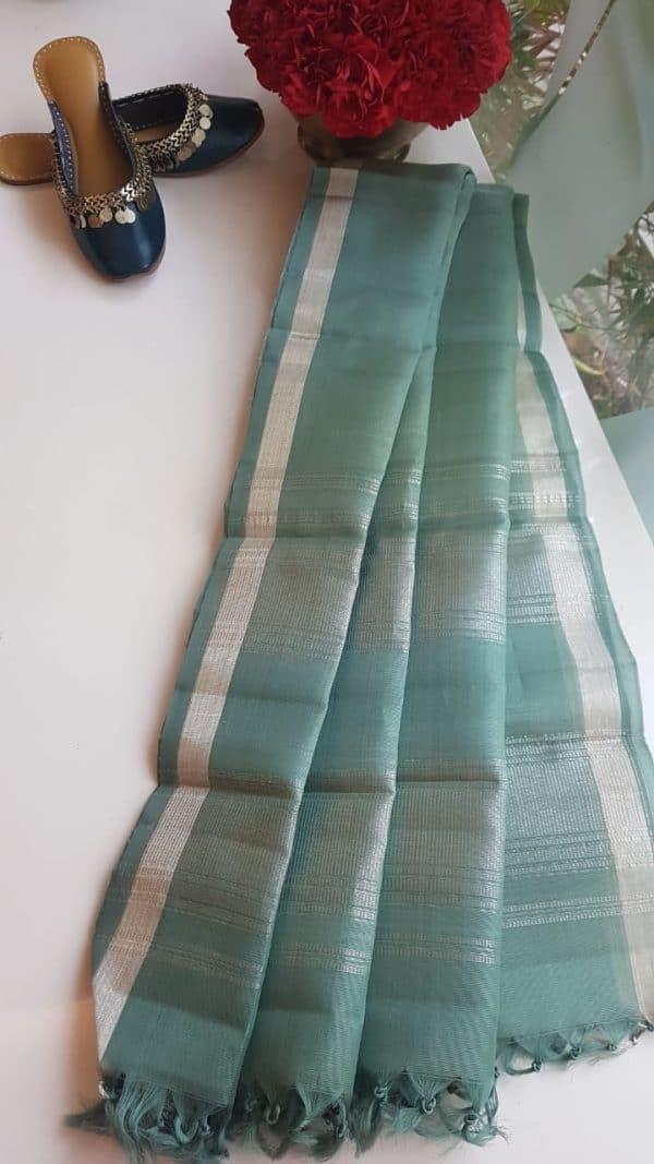 pale green organza kanchi silk dupatta