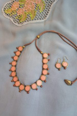 peach terracotta necklace