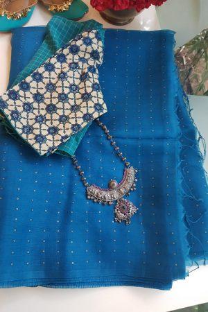 peacock blue woven organza saree