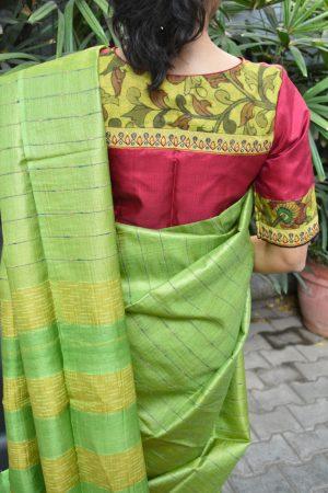 red silk kalamkari blouse back