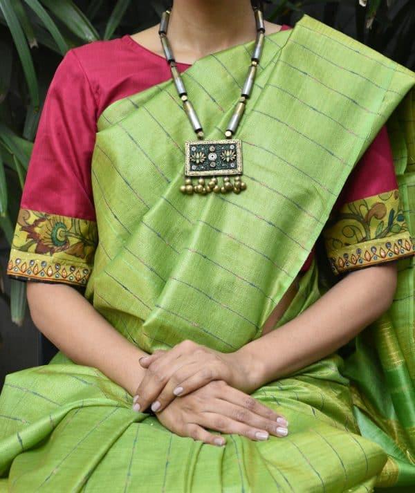 red silk kalamkari blouse front