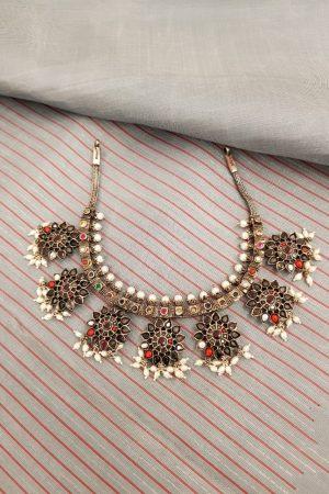 silver navratna necklace