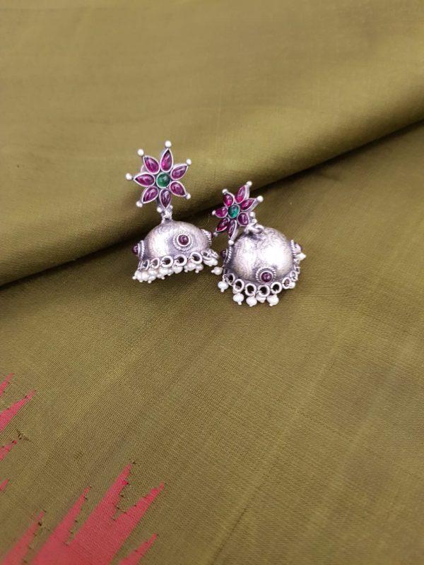 Silver pink jhumka
