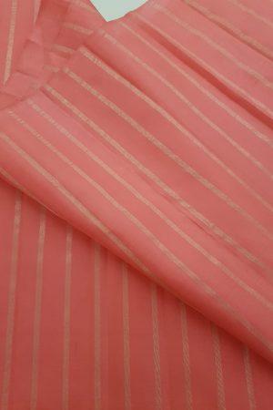 sorbet pink silver zari lines kanchi silk fabric