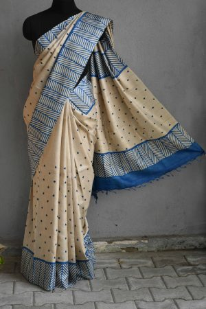 Beige and blue kutch work tussar 1