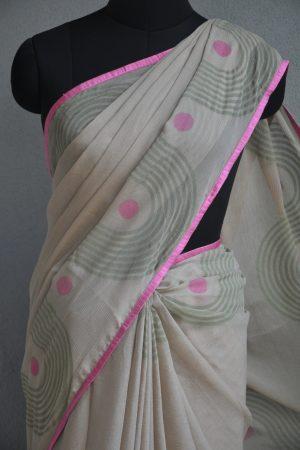 Beige block print chiffon saree 3