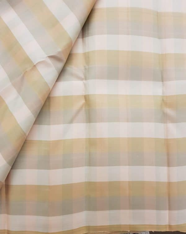 Beige checks kanchi silk fabric