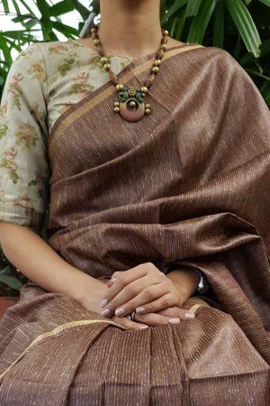 Beige floral linen blouse front