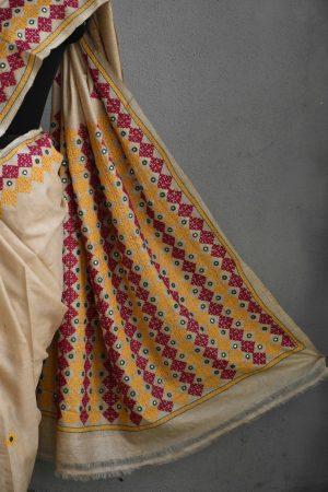 Beige multi-colour embroided tussar saree (1)