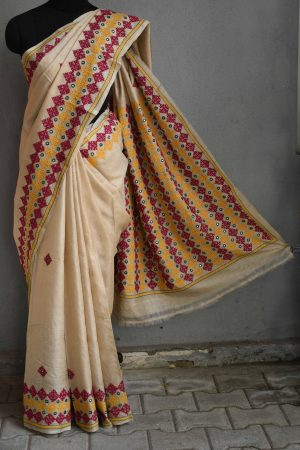 Beige multi-colour embroided tussar saree (3)