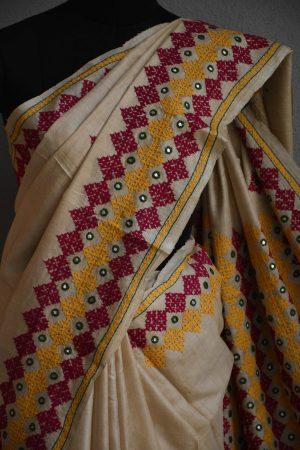 Beige multi-colour embroided tussar saree (4)