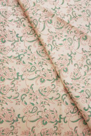 Beige printed kanchi silk fabric