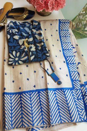 Beige tussar saree with blue kutch work