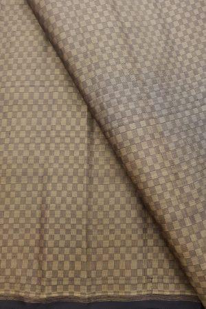 Black beige mat weave kanchi silk fabric